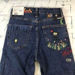 Topshop Jamie High Waist Embroidered Skinny Jeans